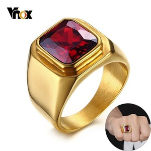 Vnox Casual Men Ring Red CZ St