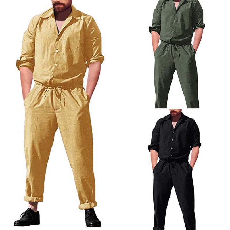 8da871b86c09 Fashion Autumn Cotton Rompers Mens Single Breasted Jumpsuit Cargo Wide Long  Sleeve Pockets Overalls New One