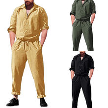 e0b7f46a194 Fashion Autumn Cotton Rompers Mens Single Breasted Jumpsuit Cargo Wide Long  Sleeve Pockets Overalls New One