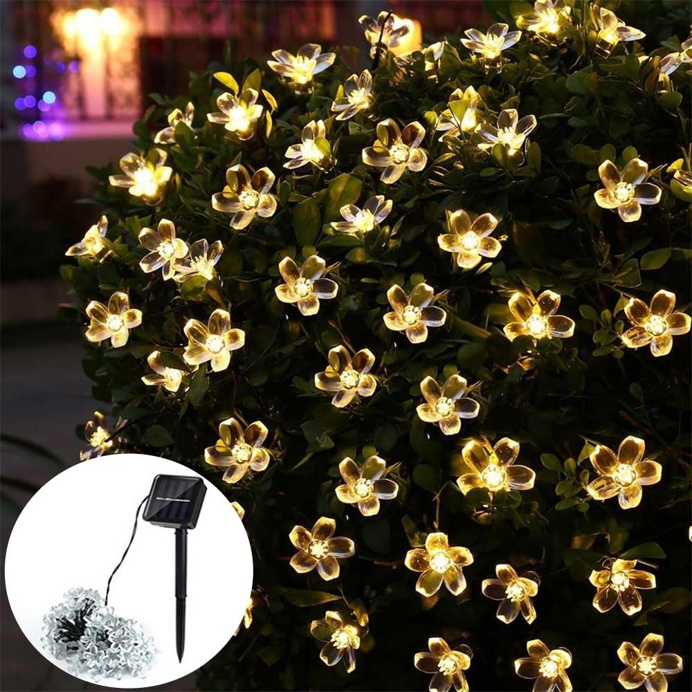 50 LED Flower Solar String Lights Waterproof String Fairy Christmas Tree Light Party Wedding New Year Decoration Street Garland