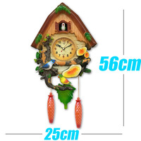 New Cartoon Vintage Animal Bird Clock Bird Sing Time Bell Swing Alarm Watch Wall Modern Brief Home Children Decor
