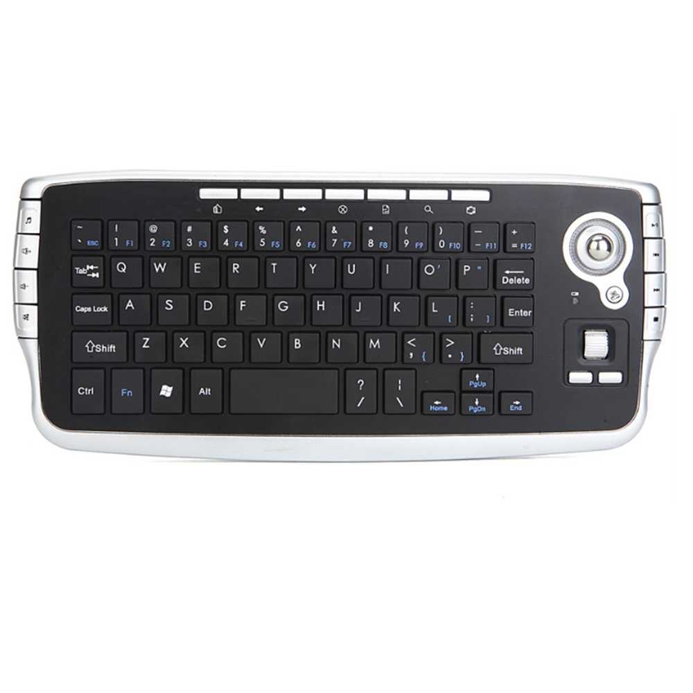 Keyboard with Trackball,2.4G Mini Wireless Multi-Media Functional Trackball Air Mouse Features: (Black)