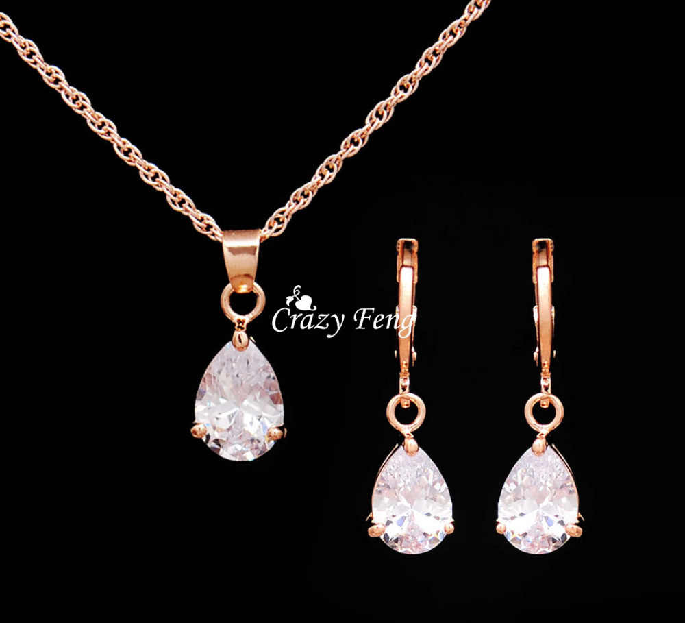 Trendy Free Shipping Wedding Jewelry Sets Necklace Earrings  Rose Gold Color Women Heart Pendant Necklace CZ Crystal