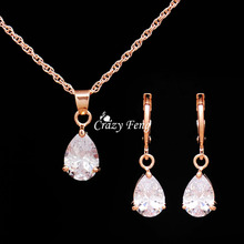 Necklace Earrings Wedding-Jewelry-Sets Heart-Pendant Rose-Gold-Color Women Crystal CZ