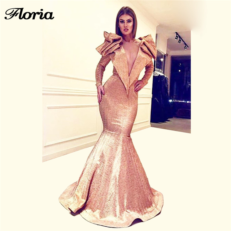 Sexy V Neck Arabic   Evening     Dresses   Turkish Aibye Bling Muslim Prom   Dress   Robe de soiree Longue Abendkleider Long Party Gowns