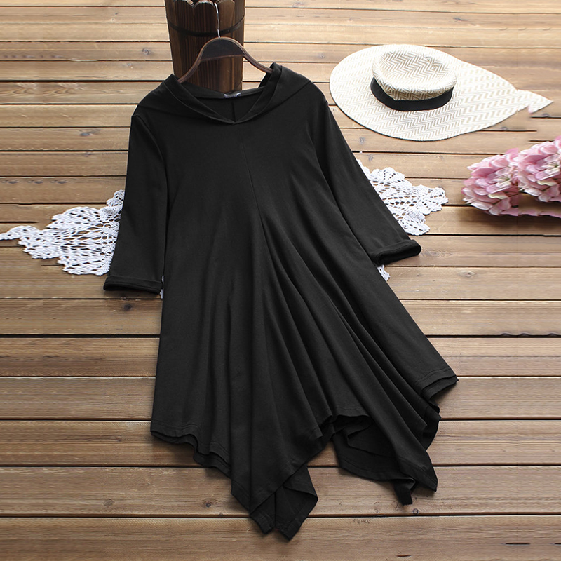 Women Hooded <font><b>Dress</b></font> casual style fall spring plus size loose vintage punk <font><b>rock</b></font> gothic pure color Asymmetric hem <font><b>t</b></font> <font><b>shirt</b></font> <font><b>dresses</b></font> image