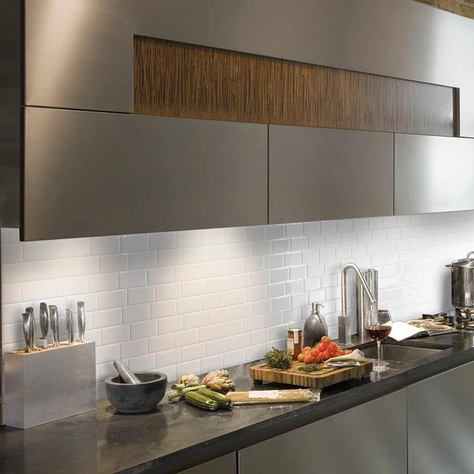 Salle De Bain Brique cuisine dosseret carreaux peel and stick blanc brique métro pour cuisine,  salle de bain 1 pièces 12 ''x 12''
