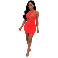 2019 Hot Solid Color Cutout Sleeveless Shoulder hollow out dress Strapless Dress Nightclub
