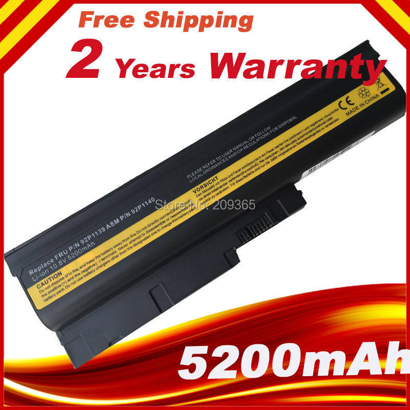5200mAh Battery For IBM Lenovo ThinkPad R60 R60e R61 R61e R61i T60 T60p T61 T61p R500 T500 W500 SL400 SL500 SL300