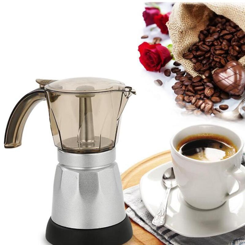 150/300ml 3 To 6 Cup Electric Italian Top Moka Coffee Pot Percolators Tool Filter Cartridge Aluminium Electrical Espresso Maker