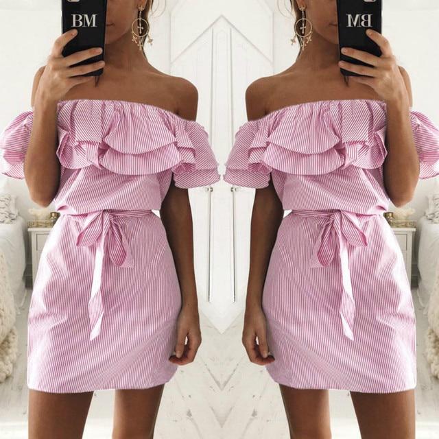 Off Shoulder Strapless Striped Ruffles Dress Women 2018 Summer Sundresses Beach Casual Shirt Short Mini Party Dresses Robe Femme 3