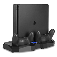 Vertical Stand Cooling Fan for PS4/PS4 Slim PS4 Pro Touch control panel Controller Charging Station Temperature Sensor for PS4