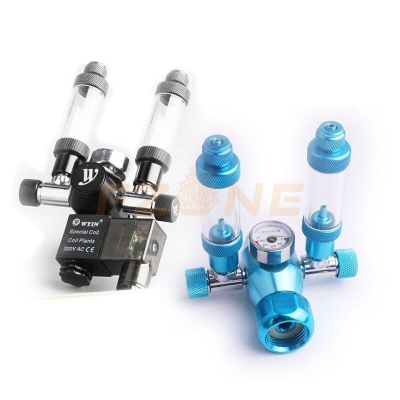 Chihiros acuario Wyin doble salida calibre CO2 regulador con válvula de contador de burbujas de válvula de solenoide y Kits de instalación