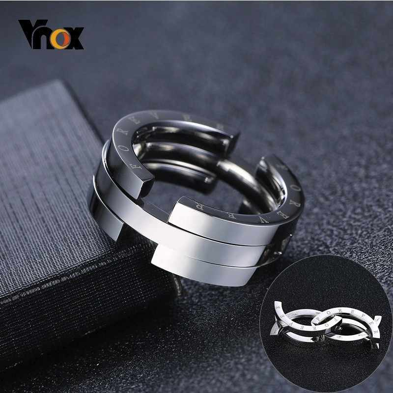Vnox Unique Deformation Kissing Fish Ring for Men Silver Stainless Steel Engraved Forever Rings Never Fade Male Wedding Band