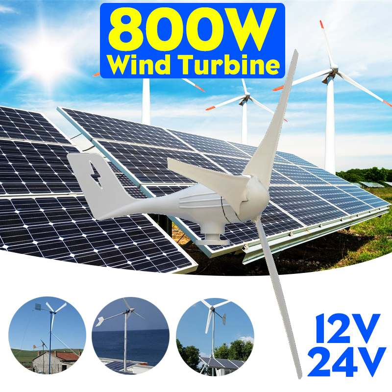 800 W 12 V 24 Volts 3 Nylon fibre Lames Éoliennes Horizontales Générateur alimentation Moulin À Vent D'énergie Chargeur Tension Kit la maison