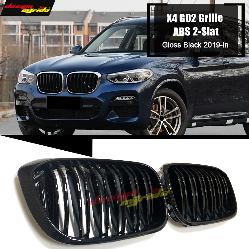 1 Pair X4 G02 grille M style ABS Gloss Black X4 X4M Front Grills 2 slat X4 G02 SUV 1:1 Replace Front Kidney Bumper Grille 19 in|Racing Grills| |  - title=