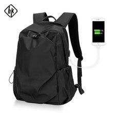 Hk seyahat sırt çantası rahat Oxford sırt çantası erkekler malzeme Escolar Mochila kaliteli marka Laptop çantası siyah kişiselleştirilmiş moda çanta