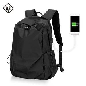 Image 1 - Plecak podróżny Hk plecak Oxford męski materiał Escolar Mochila marka jakości torba na laptopa czarna spersonalizowana moda torba