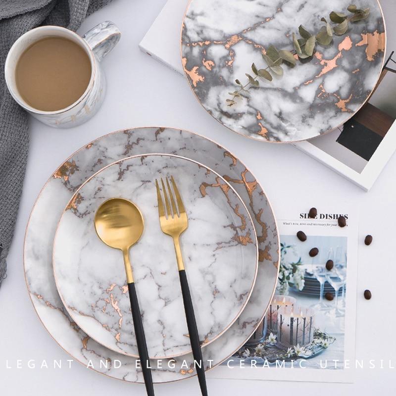 Dinnerware Set Porcelain Plates European Marble Creative Ceramic Western Dishes Steak Tableware Breakfast Dinner Flat Plate