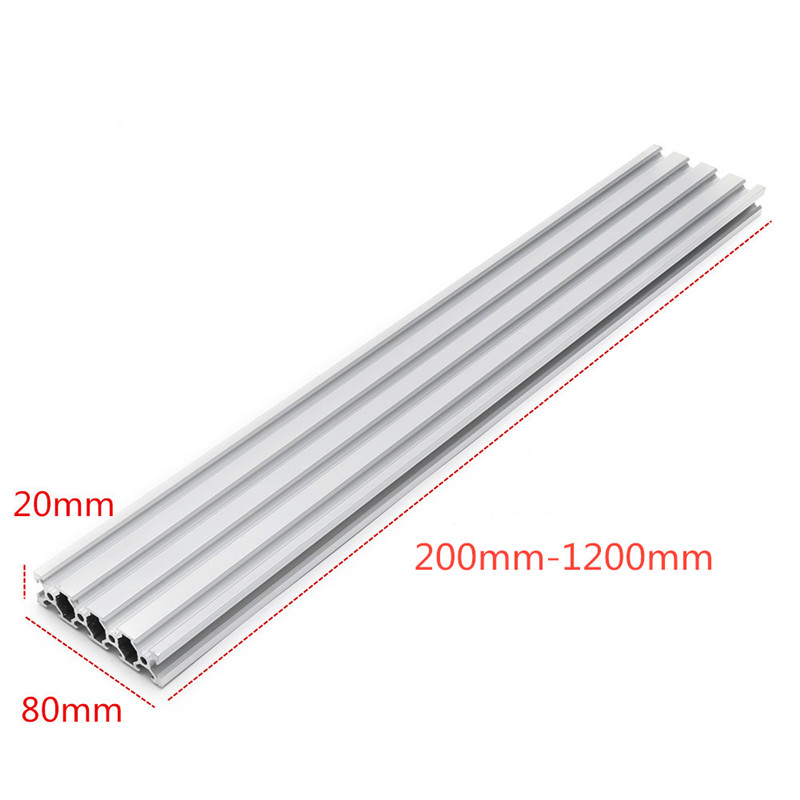 Silver <font><b>2080</b></font> V-Slot <font><b>Aluminum</b></font> <font><b>Extrusions</b></font> 20x80mm <font><b>Aluminum</b></font> <font><b>Profile</b></font> <font><b>Extrusion</b></font> Frame For CNC Laser Engraving Machine New image