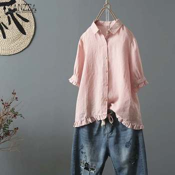 40010fc3d4e3 2019 talla grande ZANZEA verano mujeres casual sólido de manga corta de  algodón Lino elegante trabajo OL Ruffled blusa suelta camisa Chic blusas
