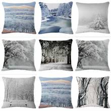 HGLEGYW зимний чехол для подушки, чехол для подушки из хлопка и льна, наволочки для подушки с принтом для офиса, дома