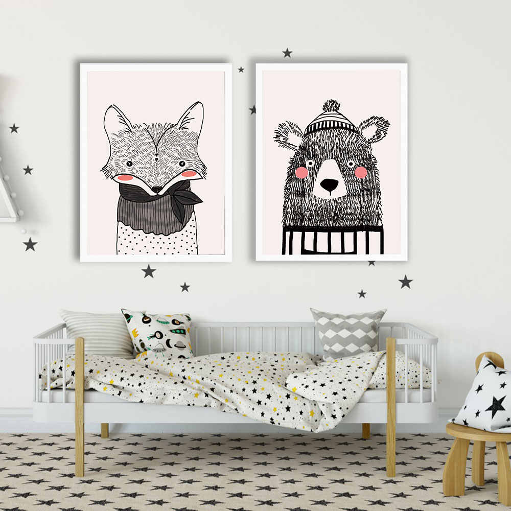 Nursery Wall Art Canvas Poster Minimalist Bear Fox Print Cartoon Painting Decoration Picture Nordic Baby Room Decor Unframed