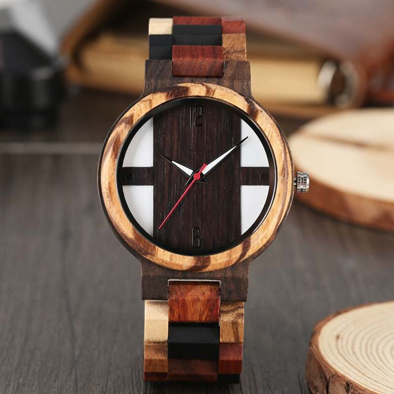 Antique Mens Wood Watches Vintage Ebony Wood Clock Male Unique Mixed Color Wooden Adjustable Band Quartz Watch Relogio Masculino