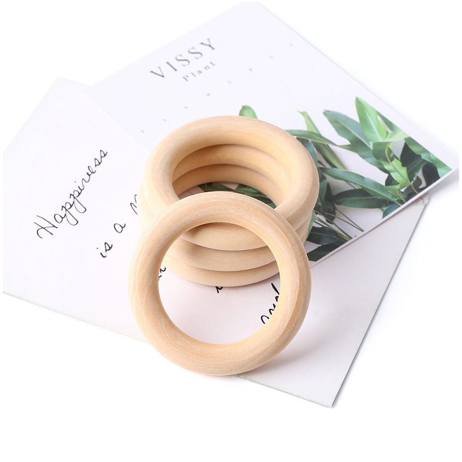 5Pc 70MM Natural Baby Wooden Teething Rings Teether Wooden Baby Teethers Baby Accessories For Kids DIY Crafts Children Goods Toy