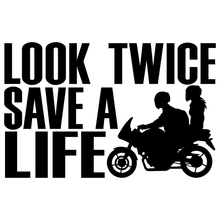 13*8.5cm Look Twice Save A Life Motorcycle Safety Vinyl Decal Window Bumper Sticker Car Bike Car Styling Stickers save grains saves life