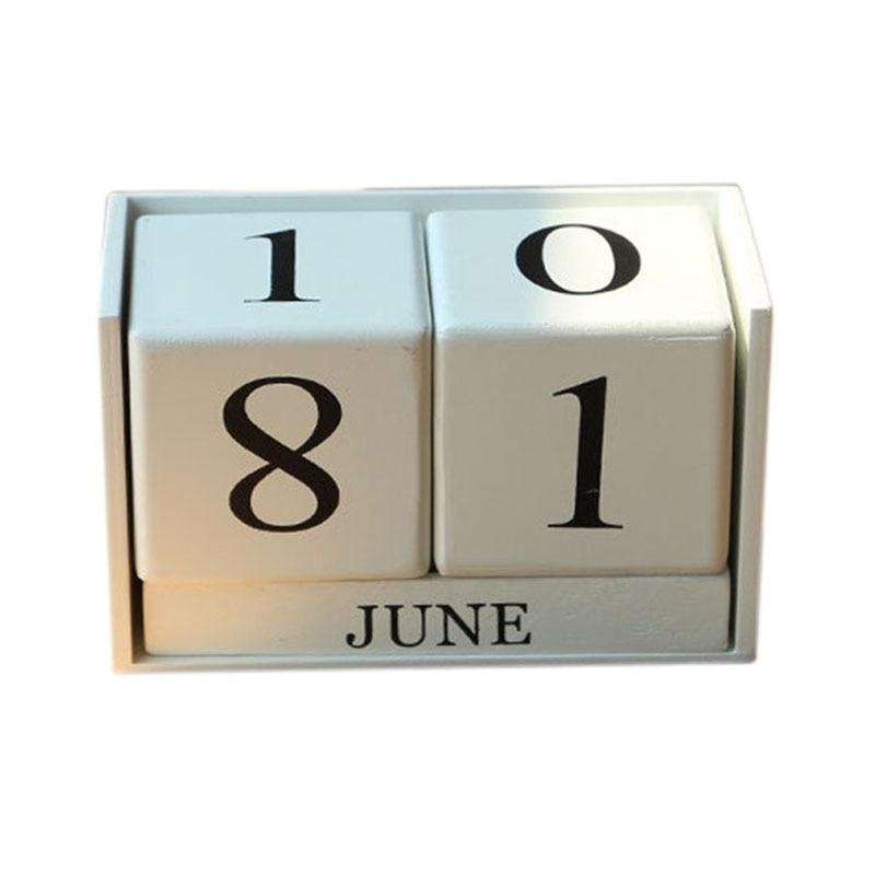 Schwarz/weiß Holz Schreibtisch Kalender Retro Vintage Holz Block Perpetual Kalender Holz Umwelt Büro Zu Hause Schreibtisch Dekor Diy Kalender, Planer Und Karten