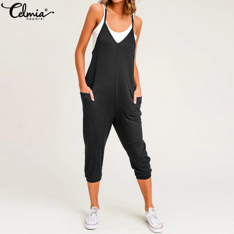 Celmia 2019 Summer Sexy Jumpsuits Women Straps Casual Loose Overalls Sleeveless Beach Playsuits Solid Long Rompers Plus Size