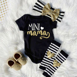 Боди для маленьких девочек 0-18 месяцев, полосатые гетры с короткими рукавами и надписью, повязка на голову