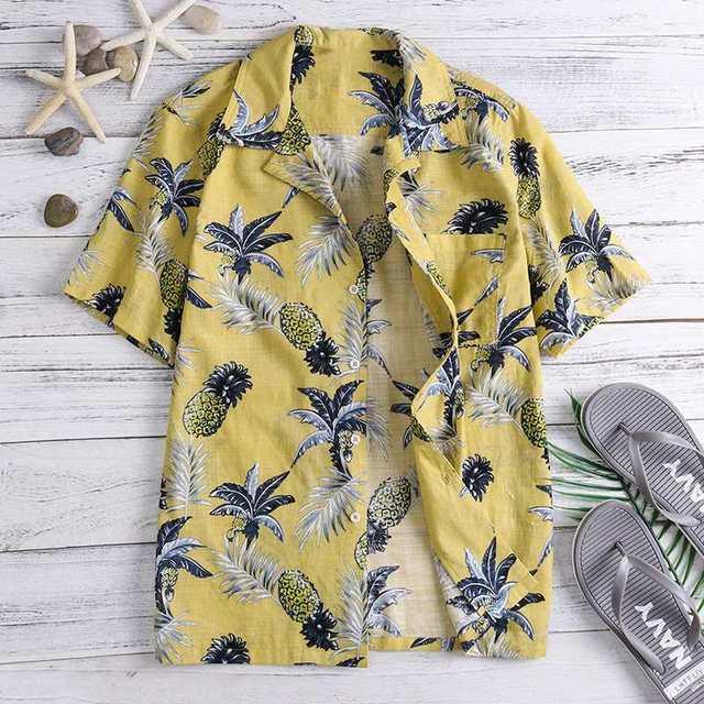 Brand Boho Hawaiian Shirts Tropical Mens Shirts Dress Short Sleeve