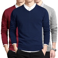 Хлопковый свитер Для мужчин с длинным рукавом пуловер человек V шеи мужские свитера модный бренд свободный крой Вязание Костюмы корейский с...