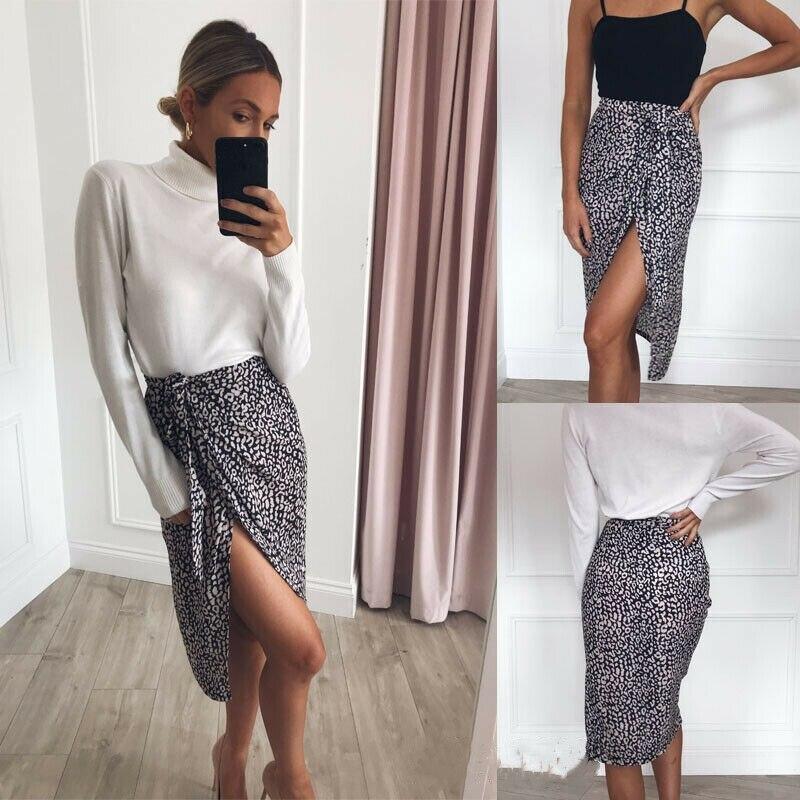 Fashion Women Summer High Waist Slim Skirts High Side Slit Beachwear Lace up High Waist Leopard Print Ladies Casual Skirt