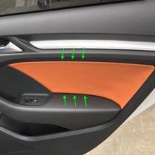 4 قطعة ستوكات الجلود الداخلية سيارة التصميم الباب لوحة يغطي التشذيب لأودي A3 2014 2015 2016 2017 2018