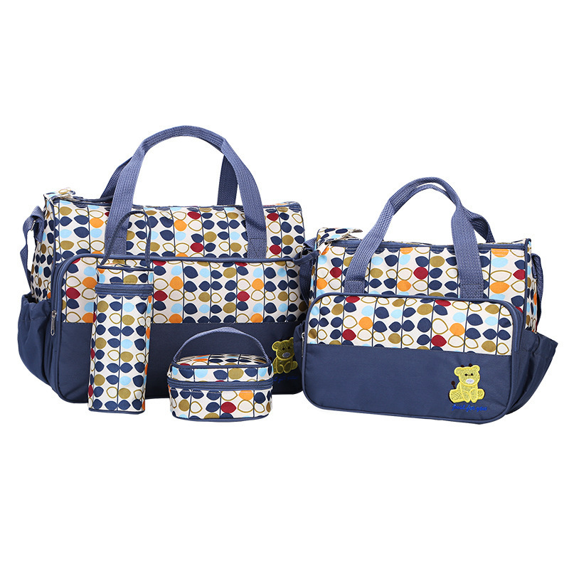 5 pieces Diaper Bag Sets Dot Nappy Bags Large Capacity Changing Bag Tote Baby Cute Nursing Stroller Bag Maternity Baby Care5 pieces Diaper Bag Sets Dot Nappy Bags Large Capacity Changing Bag Tote Baby Cute Nursing Stroller Bag Maternity Baby Care