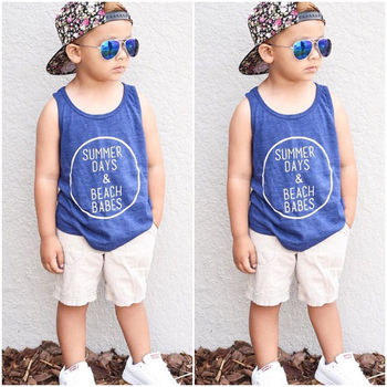 2 pieces Summer Days Print Tanks Top and Denim Shorts Set For Boys Boys Clothing Sets