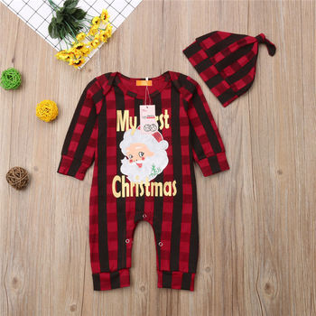 US 2019 Christmas Baby Boy Girl Clothes Romper Deer Plaid Pants 3PCS Outfit Set
