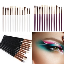 Eye Makeup Brushes 12pcs Eyeshadow Set with Soft Synthetic Hairs Wood Handle for Eyebrow Eyeliner