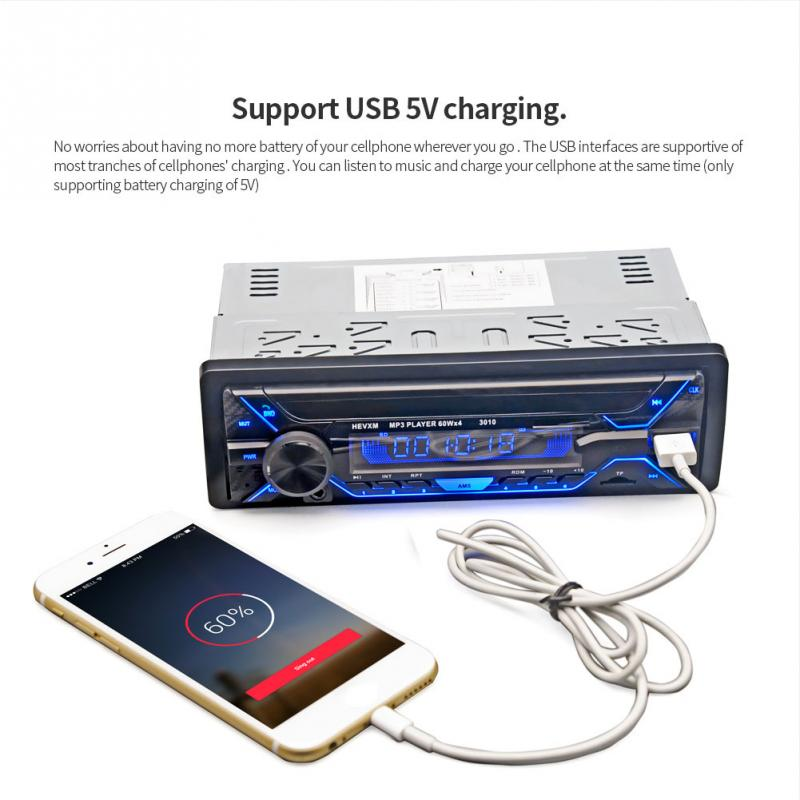Car Radio Stereo Player Bluetooth Phone AUX-IN MP3 FM/USB/1 Din/remote control 12V Car Audio Auto