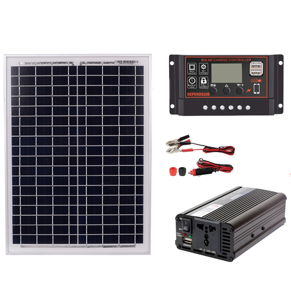 18V20W <font><b>Solar</b></font> <font><b>Panel</b></font> +12V / 24V Controller + <font><b>1500W</b></font> Inverter Ac220V Kit, Suitable For Outdoor And -Home Ac220V <font><b>Solar</b></font> Energy-Savin image