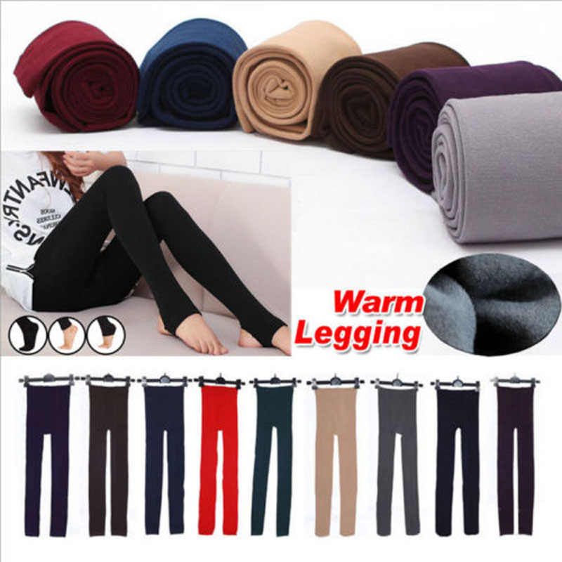b0f51ad1074fb Brand New Style Women s Winter Thick Warm Footless Slim Stretch New Fashion  Solid Leggings Skinny Pants