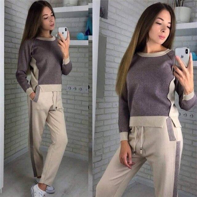 2019 Patchwork ผู้หญิงและกางเกง 2 ชิ้นชุดสตรีชุดสบายๆถักผ้าฝ้ายแยก Top กางเกงผู้หญิง