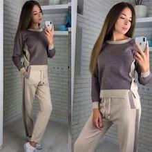 2019 Patchwork Women Sweatshirt And Pant 2 Two Piece Women Set Casual Knitting Cotton Split Top Full Pant Women Tracksuit