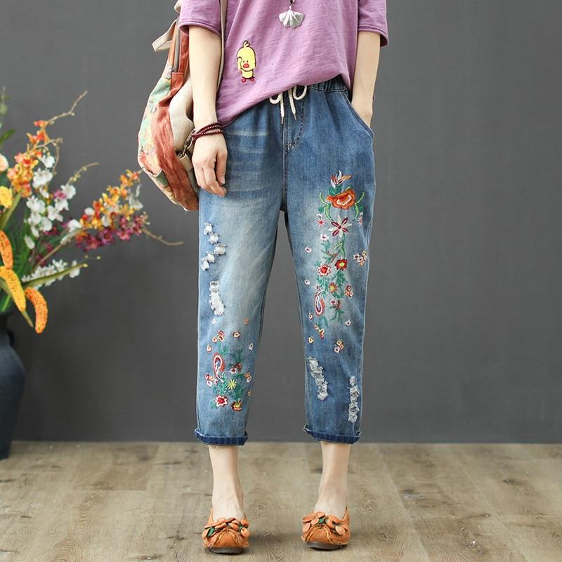 Plus Size Women  High Waist Vintage Floral Embroidery Jeansripped Holes Denim Pants Trousers Female Jeans Harem Pant
