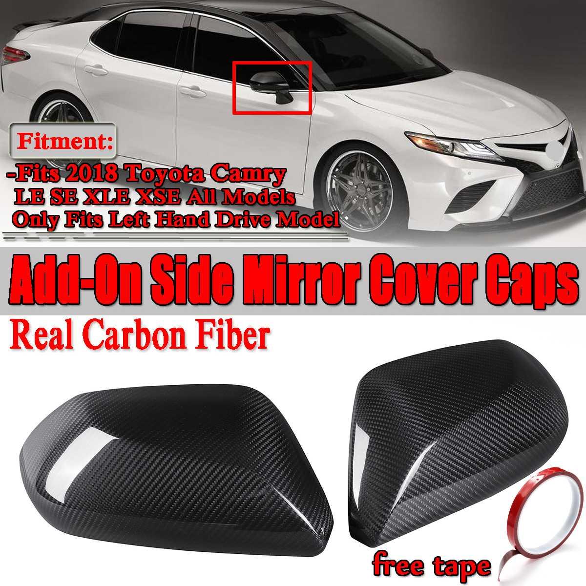 1 paire d'autocollants de protection pour rétroviseur de voiture en Fiber de carbone véritable pour Toyota Camry LE SE XLE XSE 2018