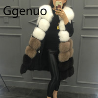 2019 New Fashion Fur Coat women high Imitation Fur Vest Jacket Mixed colors medium long style Women Faux Fur Coat