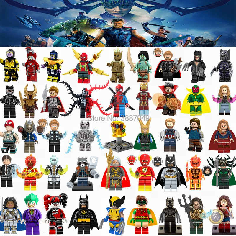 Legoings Super Heroes Iron Man Batman Thor Loki Thanos Joker Hulk Captain America Spiderman Model Building Kits Toy For Children